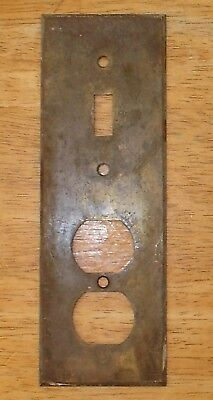 Antique / Vintage Unusual Solid Brass Switch Plate & Outlet Cover Combo Original