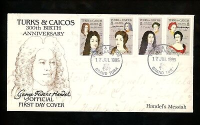 Postal History FDC #680//687 Turks & Caicos Music Related Handel composer 1985