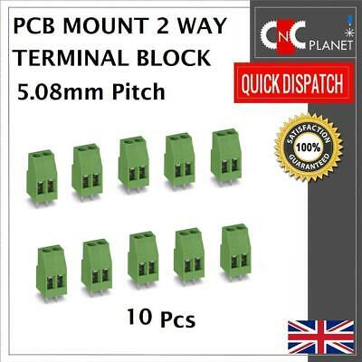 10 Pcs PCB Terminal Block 5.08mm Pitch 2 Way Straight Plug PCB Mount Green 2 Pin