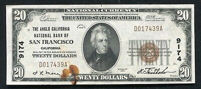 1929 $20 The Anglo California National Bank Of San Francisco, Ca Ch. #9174 (D)
