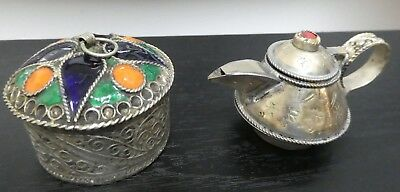 North African Bedouin Enamel Silver Pot, Silver Miniature Teapot