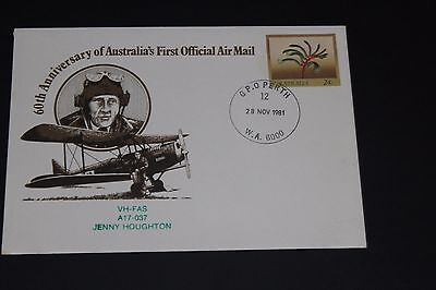 Aust 1981 60Th Ann First Official Air Mail Vh-Fas Ai7-03 Flight Souvenir Cover