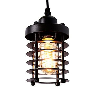 Cage Pendant Light Black Fixture Vintage Industrial Hanging Ceiling Mini Metal
