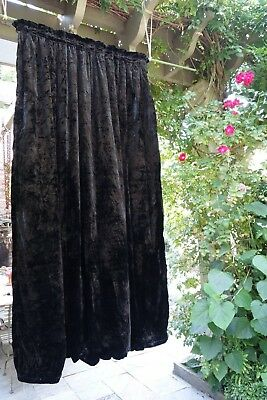 Antique Pair SILK VELVET Drapes Curtains Jet  Black Beautiful Heavy Shiny Nap