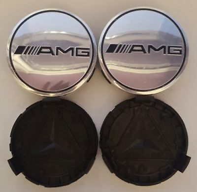 4x Silver AMG MERCEDES BENZ 75MM ALLOY WHEEL BADGES CENTRE CAPS Fits A C E S