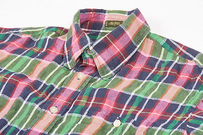 Mens ORVIS Linen Shirt L in Kelly Green Bold Pink Madras Plaid Short Sleeve