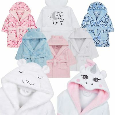 Baby Boy Girl Babies Dressing Gown Robe Plush Fleece Velvet Soft Cosy Warm Gift