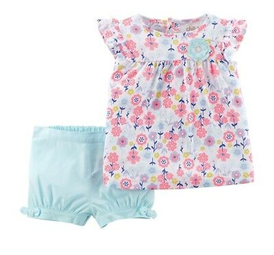 Carters Child Of Mine Infant Baby Girl Floral Shorts Outfit 0-3 Months Nwt