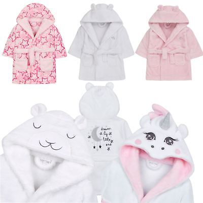 Baby Girl Babies Dressing Gown Robe Plush Fleece Velvet Soft Cosy Warm Cute Gift