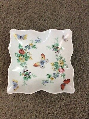Limoges France White W/flowers & Butterflies Candy Dish