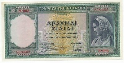 1939 Greece 1000 Drachmai Note-Crisp Uncirculated Greek Note-Ships Free!