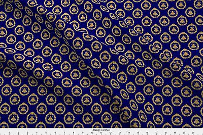 Napoleon French France Bee Antique Gilt Cobalt Fabric Printed by Spoonflower BTY