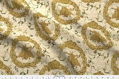 Napoleon French Bee Antique Gilt Floral Fabric Printed by Spoonflower BTY