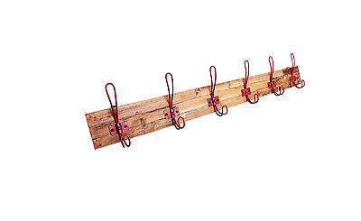 6 Hook Timber Coat Rack with Metal Red Coloured Hooks