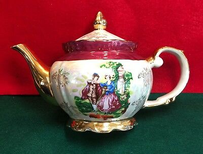 Vintage Victorian Imperial Opal Lusterware Porcelain Tea Pot ~Made in Japan