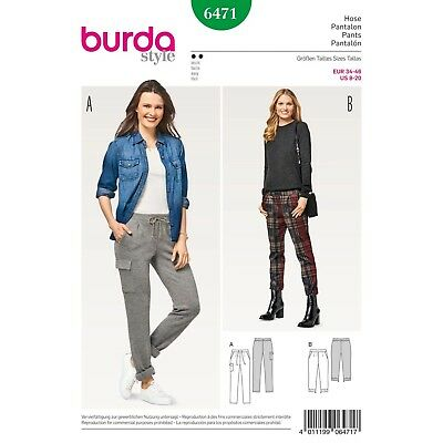 Burda 6471 SEWING PATTERN Semi-Fitted Pants Misses' EASY Sizes 8-20