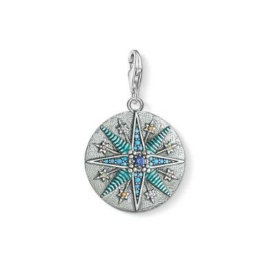 Genuine Thomas Sabo Sterling Silver Blue Vintage Star Solid Coin Charm CC1715