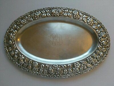 STIEFF STERLING SILVER ROSE REPOUSSE TRAY 43.17 t oz