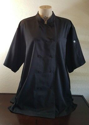 Chef Works Black Short Sleeve Unisex Chef Coat Sz Xl Euc