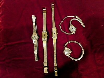 LOT of 5 Vintage Antique Women's Goldtone Watches - BULOVA, SEIKO, CITIZEN works