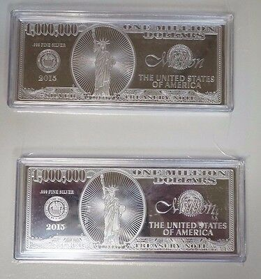 Lot of Two (2) 1 oz .999 Fine Silver Bar $1 Million Dollar Bill Note with COA