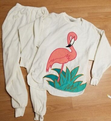 Vintage APPEL, Flamingo Sweatsuit Off White  Matching Pair. 70s/80s