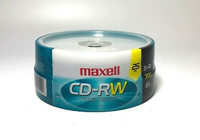 SEALED! Maxell Cd-Rw Disks 700MB 80MIN 4x Silver Spindle 25Pack CD
