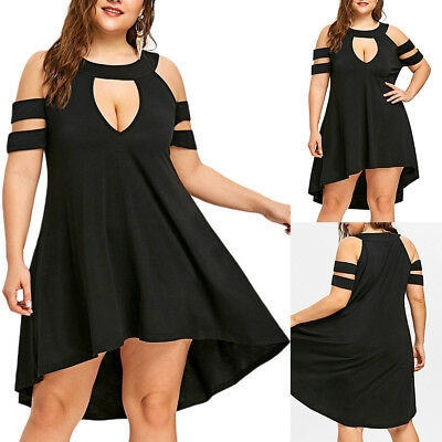 AU Sexy Women Solid Plus Size O-Neck Cold Shoulder Strapless Hollow Out Dress