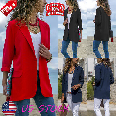 Womens Blazer Lapel Suit Coat Career Formal Ol Long Sleeve Jacket Casual Outwear