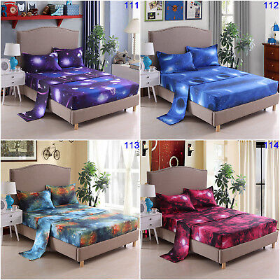Galaxy Stars Fitted Sheet Set Double/Queen/King Size Bed Flat Sheet Set Bedding