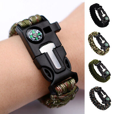 Survival Paracord Bracelet Wristband Compass Outdoor Hiking Emergency Climbing