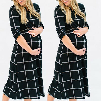 Fashion Women Pregnant Photography Props Casual Nursing Boho Chic Tie Long Dress