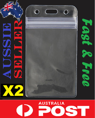 2 X Quality Plastic Clear ID Card Holder Pouch clear lanyard work badge Zip Lock