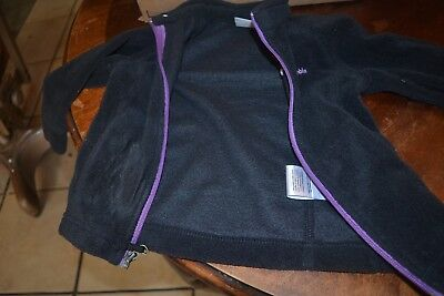 Columbia black fleece jacket purple zipper NWT toddler  18-24 mo  fabric defect