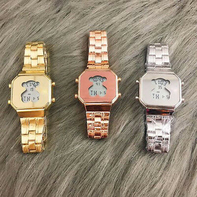 Men Women Bear Watch Fashion Luxury Stainless Steel LED Digital Wristwatch NEW