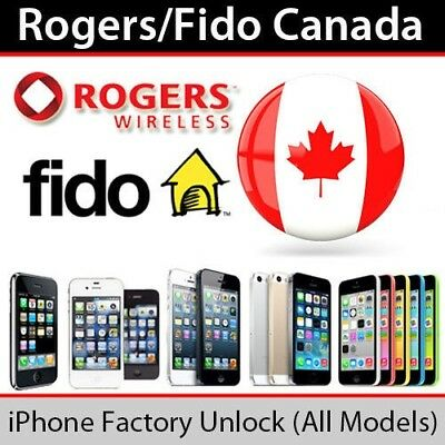 Rogers Fido unlocking iphone 5,5S,6,6+,6S,6S+,7,7+,8,8+,X 1 to 24 hours fast