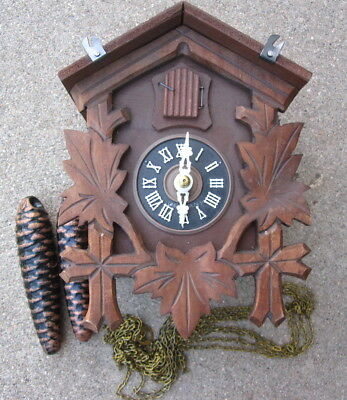 VTG Anton Schneider Carved Three Leaves Black Forest Cuckoo Clock UNTESTED