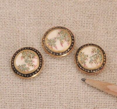 3 Satsuma Buttons Wisteria Flower Japanese Meiji Pottery Antique Porcelain Gold