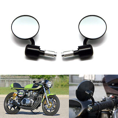 """Black Motorcycle Handle Bar End Mirrors Round 7/8"""" For Cafe Racer Bobber Cruiser"""