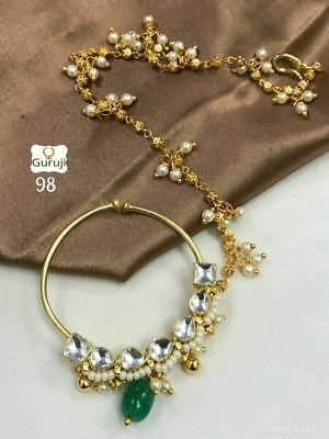 Indian Gold Tone Pierced  White  Green Pearl Traditional Nath Bridal Jewelry