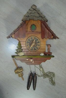 80s Cuckoo Clock orig Black Forest handmade mech Weights + Pendelum + Chime