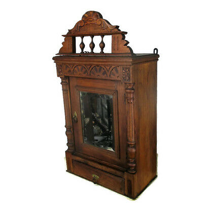 Vintage Kitchen Apothecary Wall Cabinet Beveled glass mirror Pediment  Wood WOW