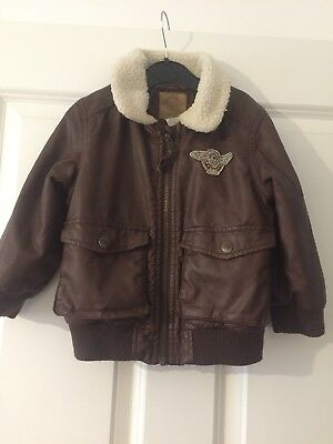 H&M Brown Leather Aviator Jacket Boys 18-24 Months