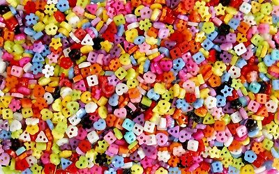 6mm Mini Buttons for Dolls & Soft Toys Clothes - 6mm Assorted Colours & Designs