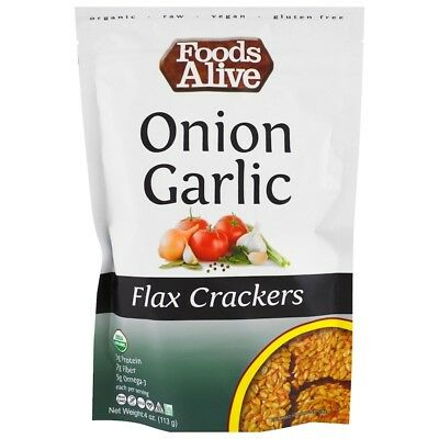 Foods Alive Flax Crackers Onion Garlic 4 oz (113 g)