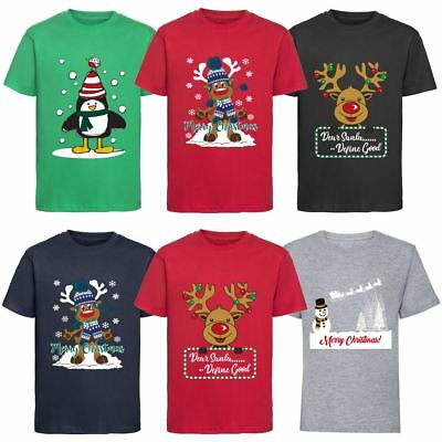 Kids Boys Girls Christmas T-shirt Xmas Tee Top Festive Novelty Gift 3-12 Years