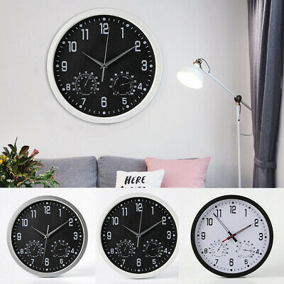 New Living Home Office Wall Clock Round Vintage Temperature & Humidity Modern UK