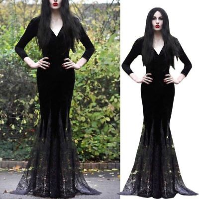 Halloween Cosplay Costume Gothic Lace Women Sexy Length Mermaid Floor Long Dress