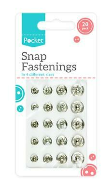 20 Sew on Snap Fasteners Fastenings 4 Assorted Sizes Metal Clothes Poppers