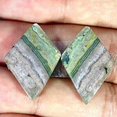 24.20Cts A+ NATURAL OCEAN JASPER CABOCHON MATCHED PAIR FANCY GEMSTONE
